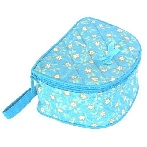 Large Cotton Cosmetic Case, Aqua With Cream/Yellow-Colored Flowers/Aqua Background & Trim by NaRaYa. $7.99. Store your cosmetics or personal items in this nice cotton cosmetic case.  Zipper closure.  Top opens up.  Made in Thailand.  Also available in Sizes: Medium & Small.