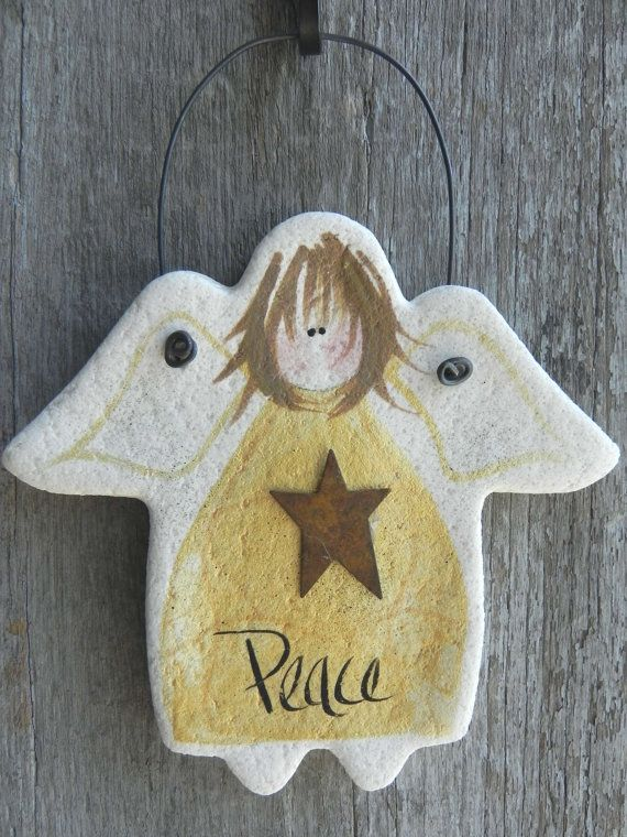 Peace Angel Salt Dough Christmas Ornament / Kitchen Decor