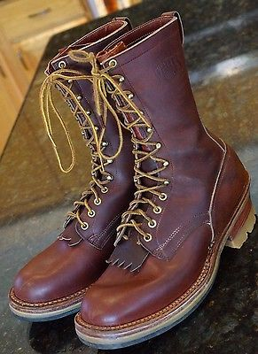 MENS-WHITES-LEATHER-WORK-LINEMAN-logger-SMOKE-JUMPER-VIBRAM-BOOTS-sz-12-1-2-E