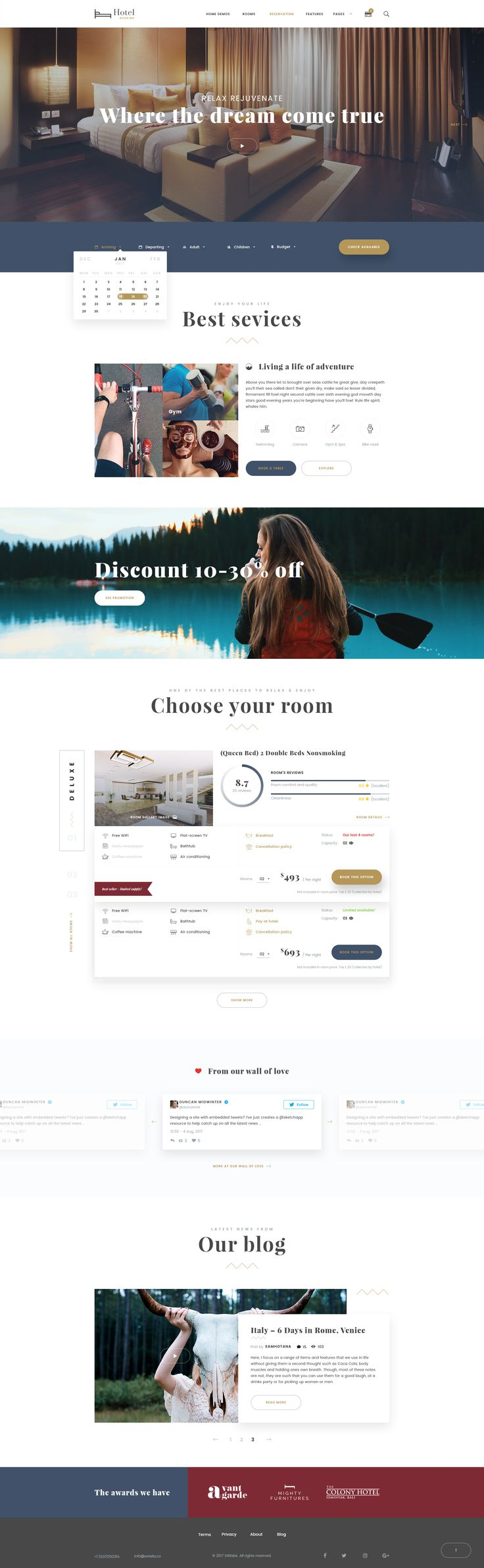 Hotel Booking – Travel Hotel Booking PSD Template Hotel Booking is a clean, modern, creative, luxury, unique PSD template for hotel, hostel, resort, travel, booking, accomodation. Designed with tre...
