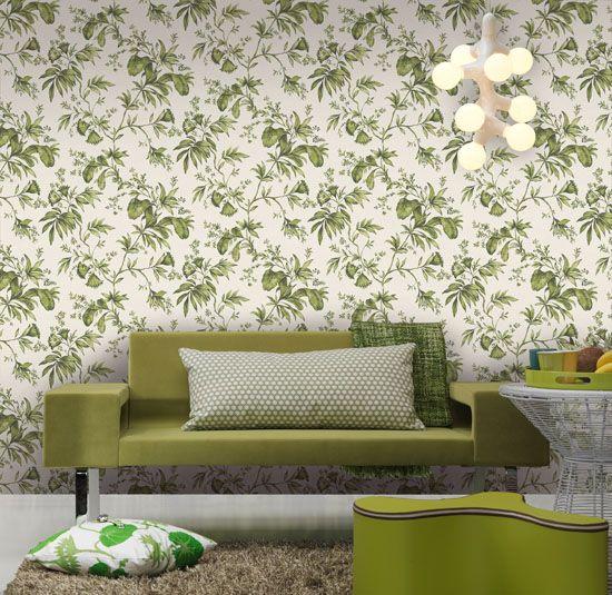 Empapelado - Flores verdes - Papel de parede