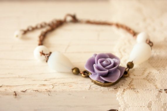 Copper Bracelet with Purple Matte Resin by BeautyfromashesUSA