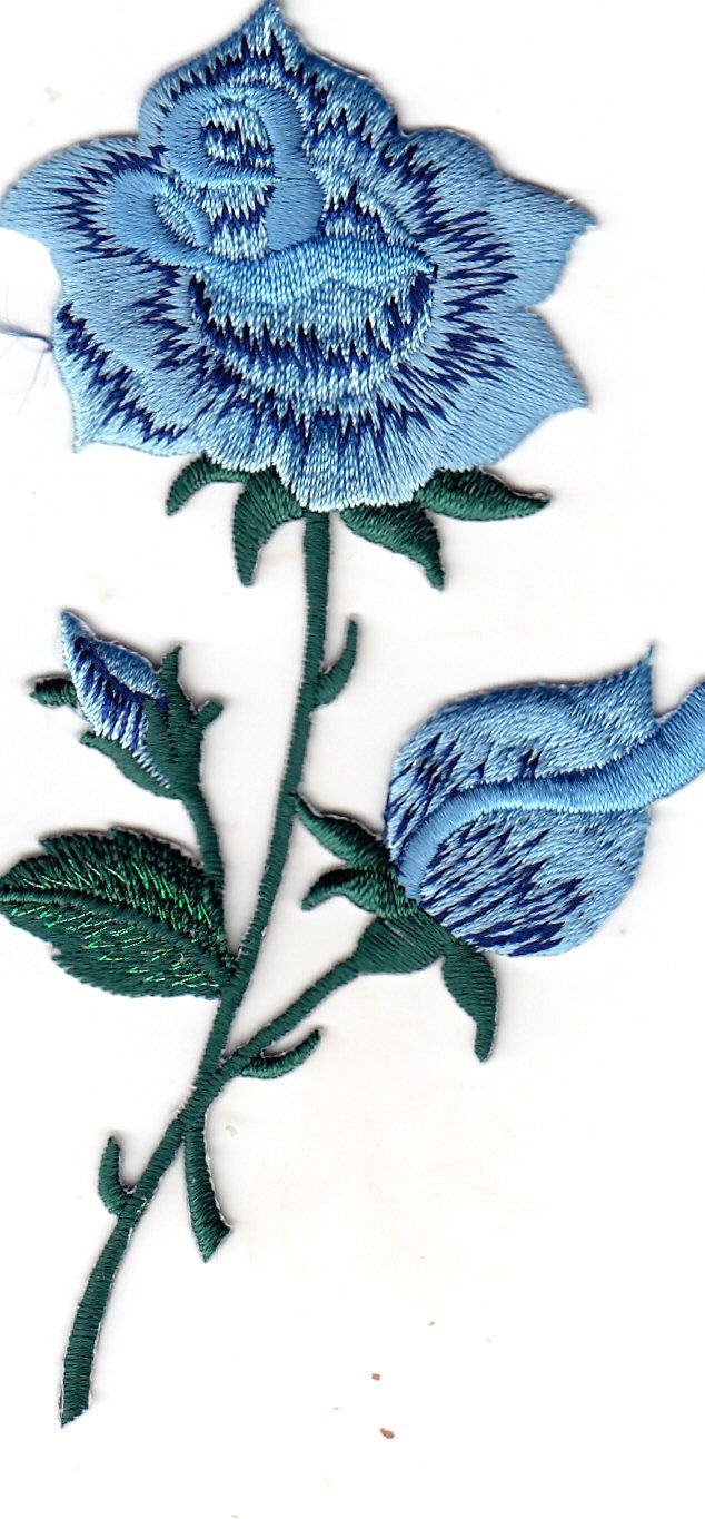 Blue rose flower iron on embroidered applique patch roses