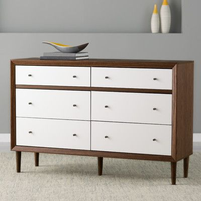 """Features:  -Solid wood legs.  -Dark walnut and white finish.  -Wooden knobs.  Frame Material: -Wood.  Product Type: -Standard dresser (horizontal). Dimensions:  Overall Height - Top to Bottom: -36.69"""""""