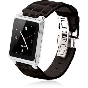 4236d0dcae3 iWatchz STLBLKDYTP Timepiece Stainless Leather Watch Strap for iPod nano  6th Gen with Deploy (Black