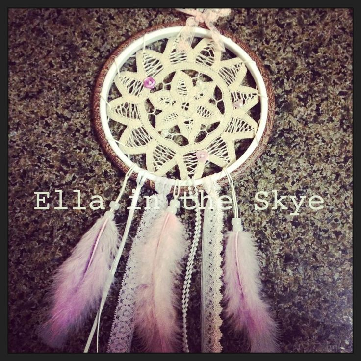 Ella in the Skye's handmade dreamcatcher. Feathers, doily, handmade goodness facebook.com/ellaintheskyegifts or follow on instagram - @ellaintheskye!!