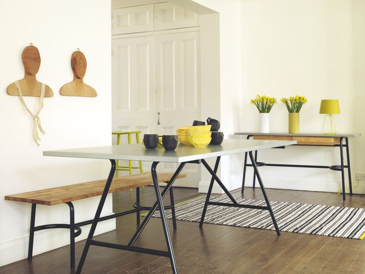 YEOMAN 8 Seater Zinc Topped Dining Table | Bench, White Furniture And Dining