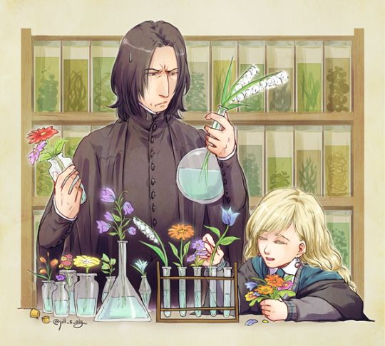 Severus Snape and Luna Lovegood - LOL! It seems that Professor Snape is not very happy with his new assistant's work! :)
