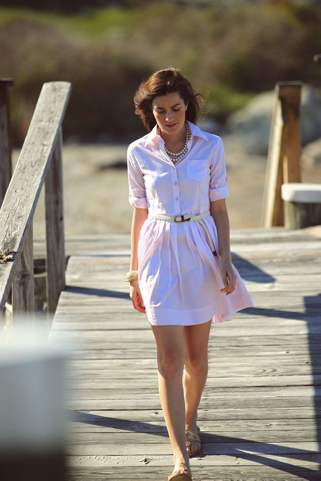 Oxford shirtdress by Brooks Brothers, sandals by Jack Rogers, braided belt by J.Crew. (May 14, 2012)