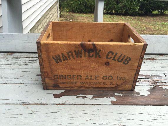 Vintage Wawrick Club Ginger Ale Co wooden crate by UpTheAntiqueCo