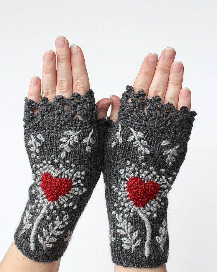 Knitted Fingerless Gloves, Gloves & Mittens, Gift Ideas, For Her, Winter Accessories, Dark Grey, Heart, Women, Fashion, Accessories by nbGlovesAndMittens on Etsy https://www.etsy.com/listing/236709869/knitted-fingerless-gloves-gloves-mittens