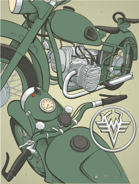Motorcycle of the USSR 50-60's M72  http://www.behance.net/gallery/Car-of-the-USSR-50-60s/2399228