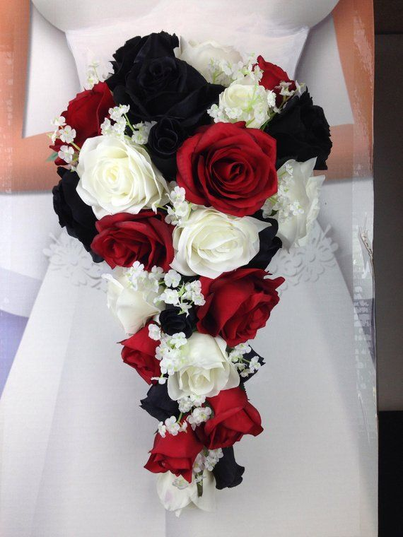 New Artificial Black Red And White Wedding Flowers Baby S Breath