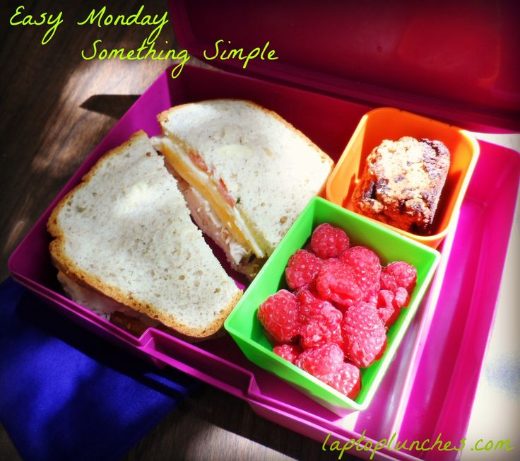 Easy Monday! Something simple and satisfying... Turkey and cheese sandwich on gluten-free bread, raspberries, and a gluten-free chocolate chip blondie. #bento #lunch #easylunch #funlunch #glutenfree #backtoschool #bts