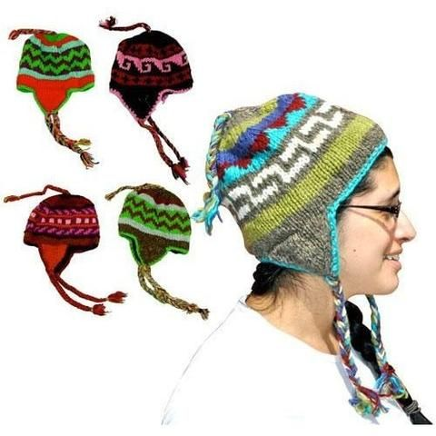 Knit Cap With Pigtail Ear Flaps - The Hippie House