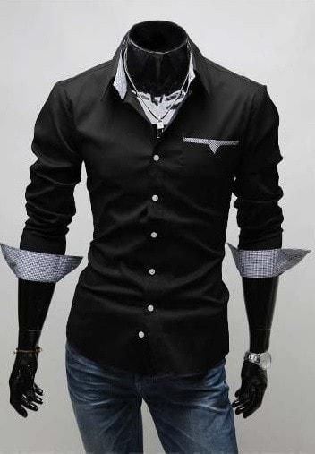 Mens Formal Shirts - Long Sleeve Luxury Dress Shirts - Dress Shirts - eDealRetail - 2