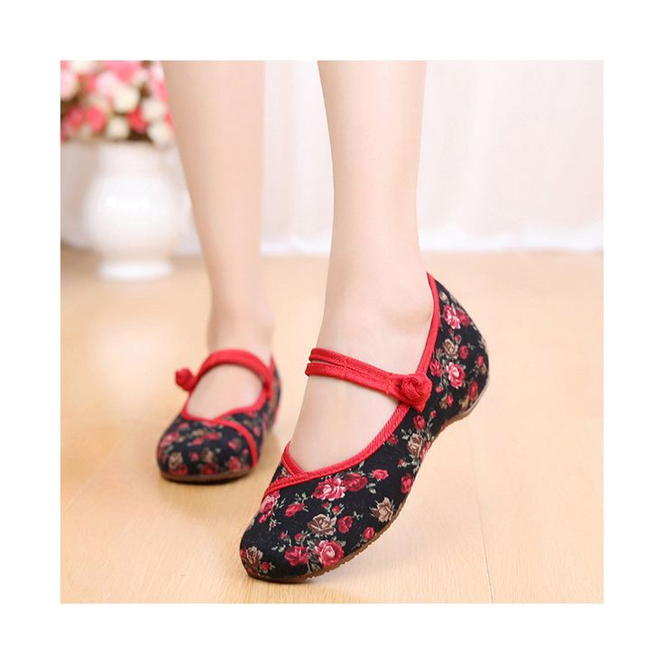Old Beijing Cloth Shoes Slipsole Small Flower National Style Embroidered Shoes Dance Cloth Shoes Increased within Mom Woman Shoes black