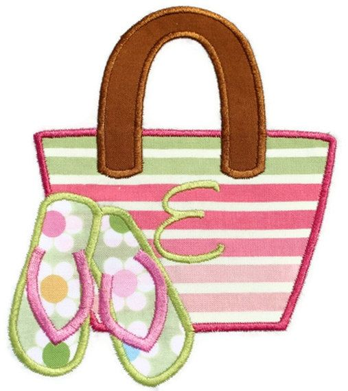 Beach Bag Machine Embroidery Applique by SimplySweetEmbroider, $4.00