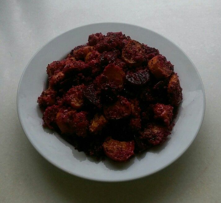 Sweet potato and beetroot salad with quinoa.