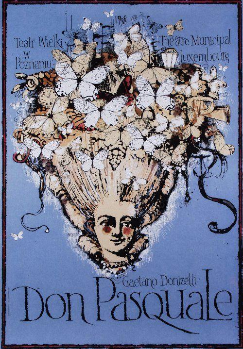 Don Pasquale, Donizetti, Polish Opera Poster