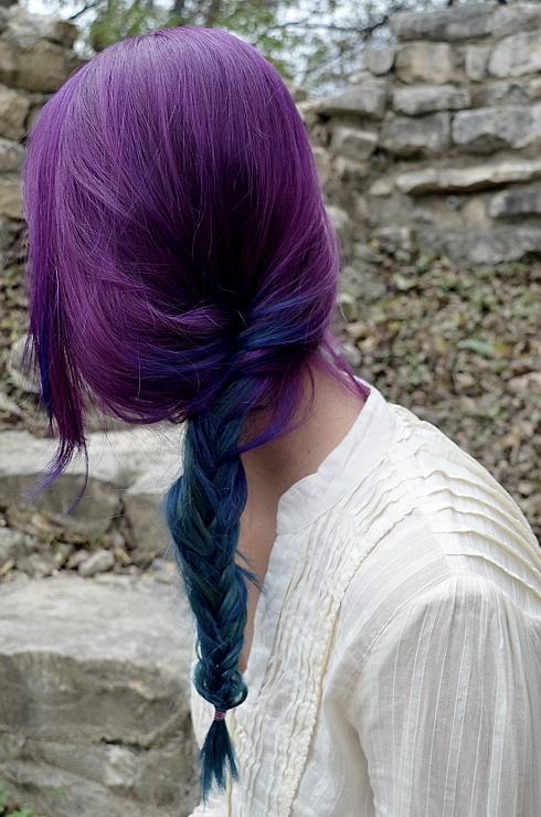 Purple to @Manic Panic Midnight Blue ombré, miss it