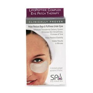Spa Sciences LipoPeptide Complex Eye Patch Therapy 4sets. Instantly soothes tired, under-eye area. Non-Irritating and Alcohol Free. LipoPeptide Complex is clinically proven to reduce bags, dark circles, and puffiness under eyes for a smoother, younger appearance. Helps Reduce Bags & Puffiness Under Eyes. Spa Sciences LipoPeptide Complex Eye Patch Therapy developed by professional with a transdermal delivery system which helps restore elasticity and firmness.