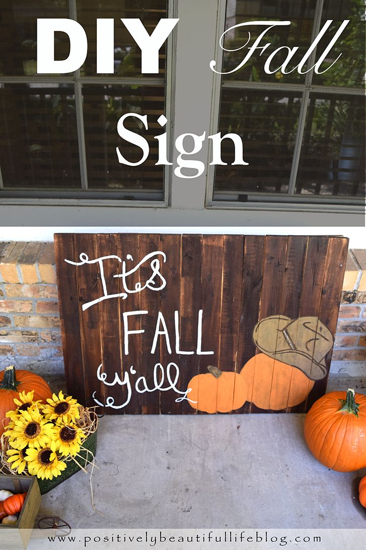 rustic wood Sign that is an easy DIY project for the Fall. It can be ...