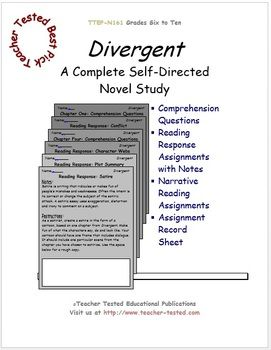 Divergent Novel Study is 70 pages in length and packed with printable assignments including: comprehension questions, visual interpretations, vocabulary and crosswords, character webs, motif, and more.