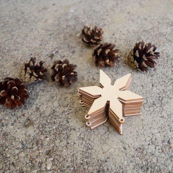 Houten sneeuwvlok set / natuurlijke houten ornamenten / Christmas tree decorations / sneeuwvlok Kerst ornamenten / vakantie versiering