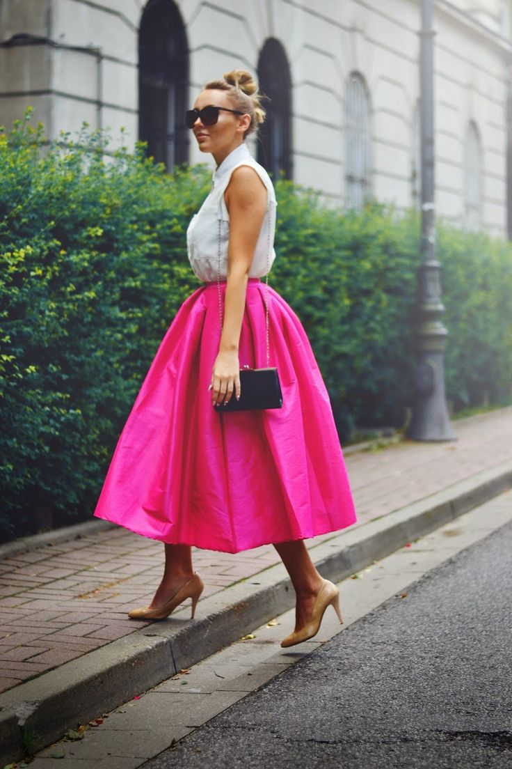 #choies #pink #dress Pink Midi Skater Skirt