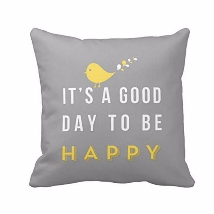 Yellow Bird Letter Square Throw Pillow Case Cushion Cover Home Decor