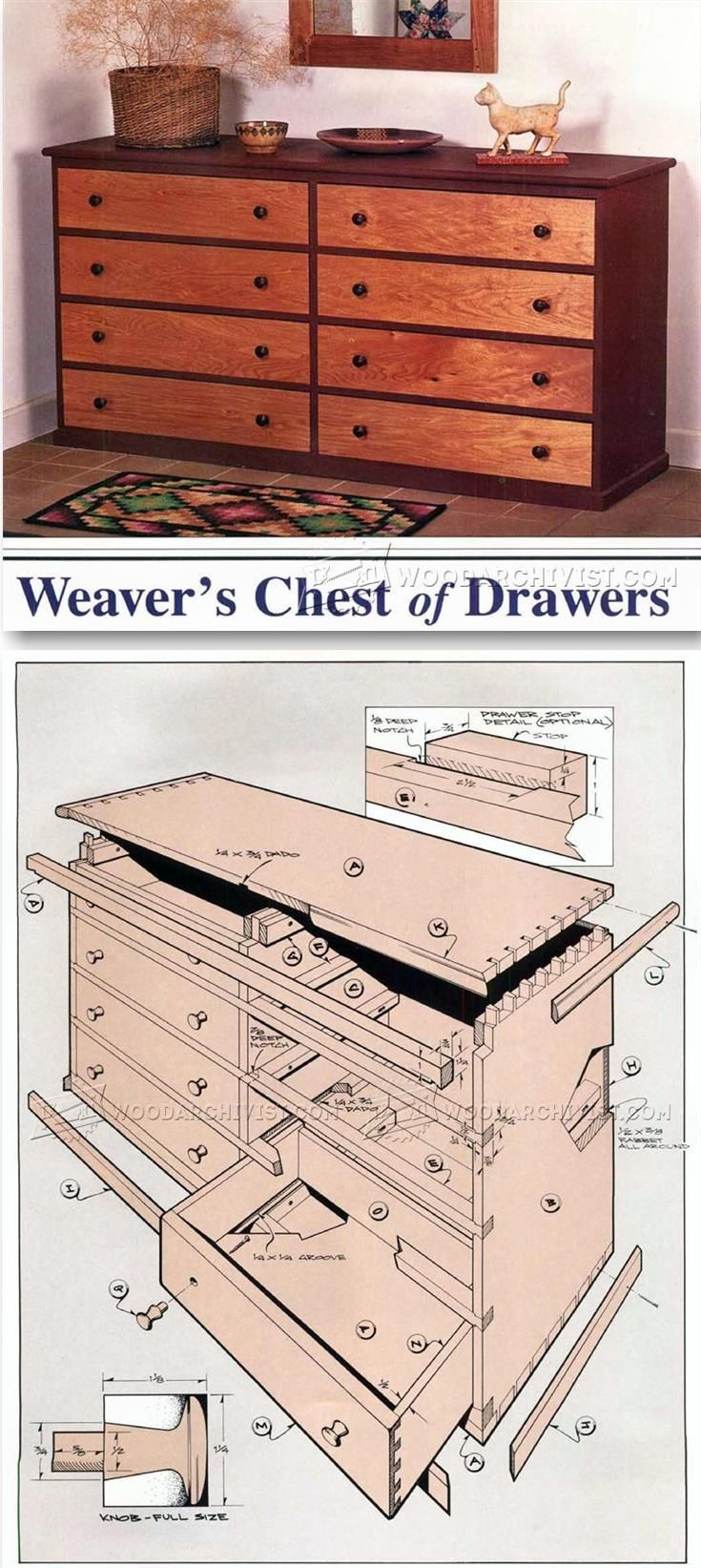Weavers Chest of Drawers Plans - Furniture Plans and Projects | WoodArchivist.com                                                                                                                                                                                 More
