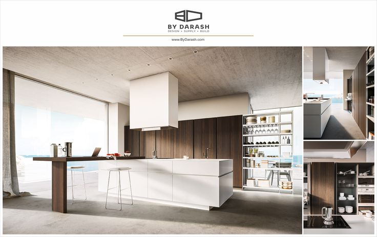 A sleek contemporary trio of wood, brown cabinetry, and white to beautify a simple design. Sold by @bydarash