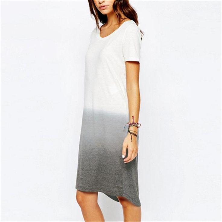 2016 новое мода градиент цвет платья с коротким рукавом свободного покроя широкий длинные платья Vestidos женщины летняя футболка платье купить на AliExpress