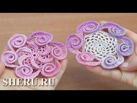 Урок вязания 145: Цветок крючком декоративный с навязками - YouTube