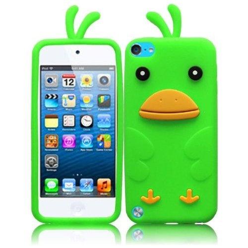 Apple iPod 5 5th Generation Soft Silicone Neon Green Funny Duck Design Case Cover Skin Protector