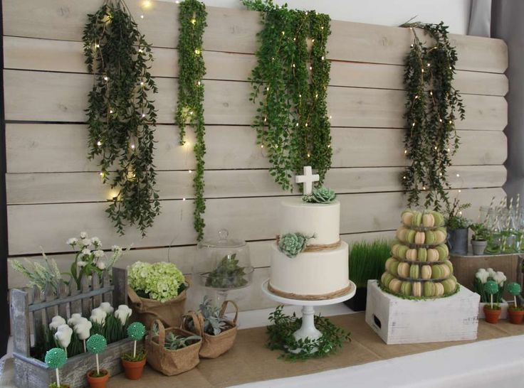 Stunning desserts at a garden baptism party! See more party ideas at CatchMyParty.com!