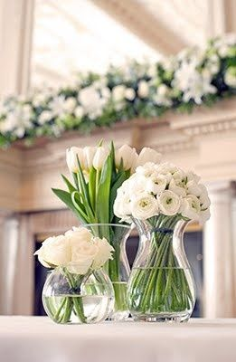 Single colour, one type of flower per vase, lots of different vases