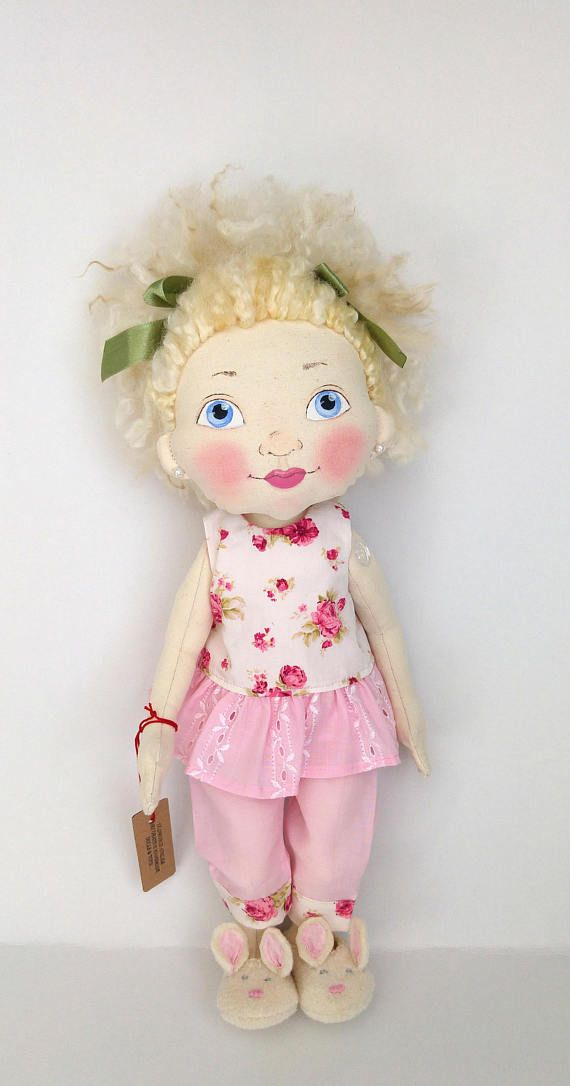 Handmade Fabric Doll, Soft Doll,, Unique Doll, Colectible Doll; Textile doll,Cloth doll, Rag doll ,Art doll, Hand painted doll,