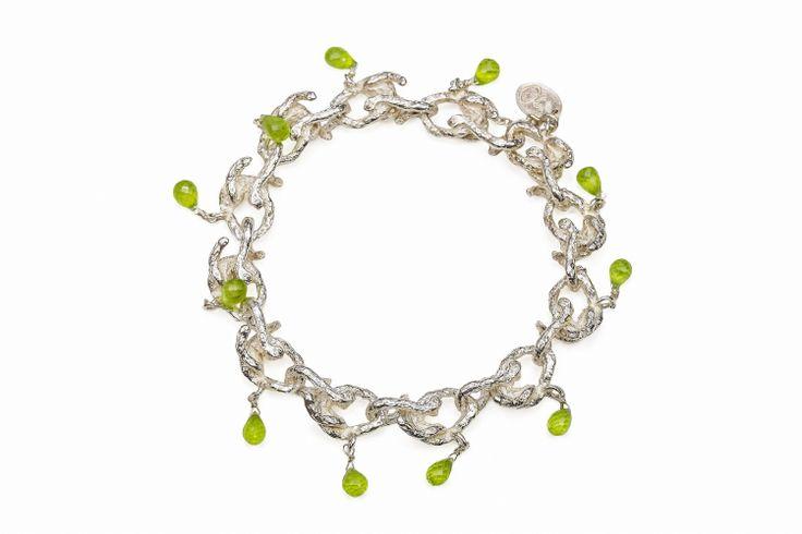 Sterling Vine Link Periodot Briolet Drop Bracelet