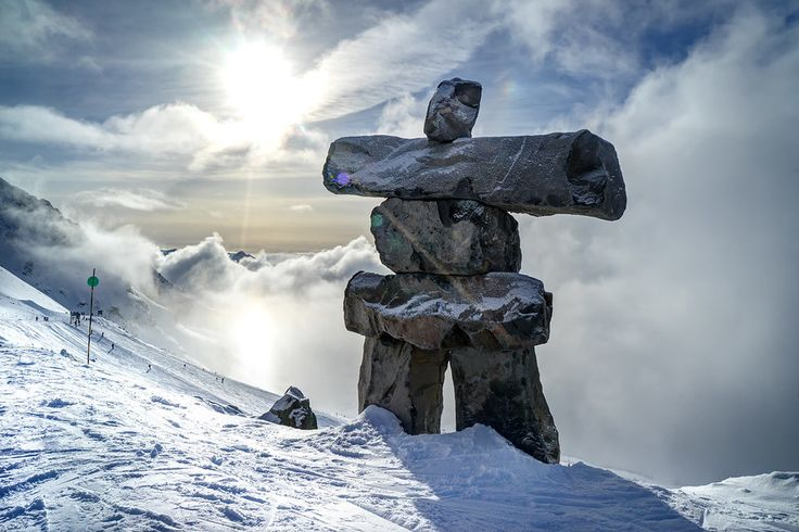 Inukshuk Watches Over the Mountain, Whistler-Blackcomb
