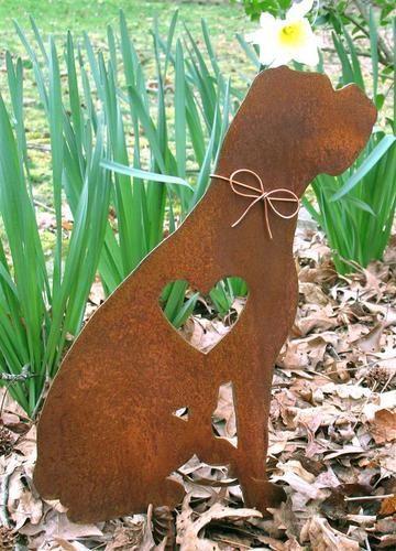 Boxer Dog Metal Garden Stake - Yard Garden Art - Pet Memorial