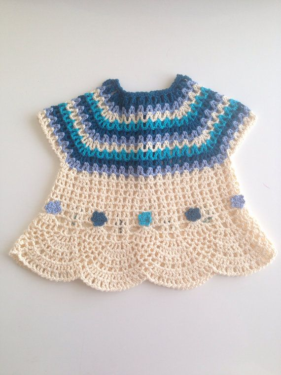 Crochet Cream Blue Pure Cotton Baby Girl by QueensAccessories