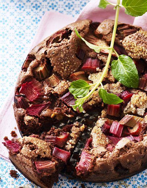 Chokoladetærte med rabarber