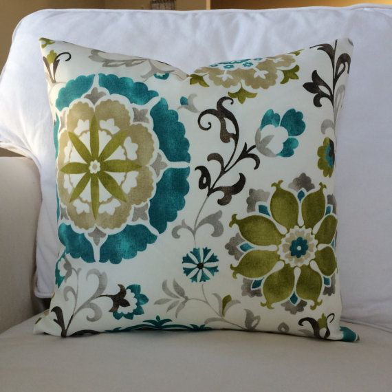 Indoor Outdoor Lanai Patio Zippered Throw Pillow Cushion Cover Floral French Country Coastal Decor Teal Blue Olive Green Gray Khaki