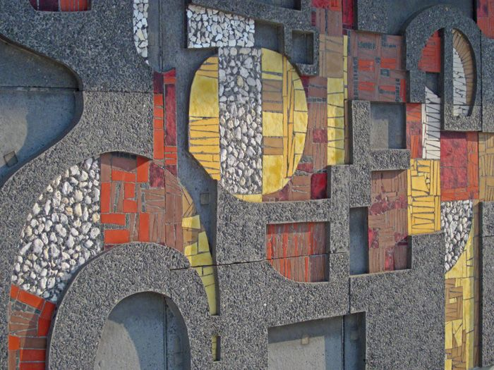 Fragment of the abstract artwork made by Jan Dijker in the 1960′s / spans over 50 meters of wall at the Fontys Hogeschool in Tilburg.