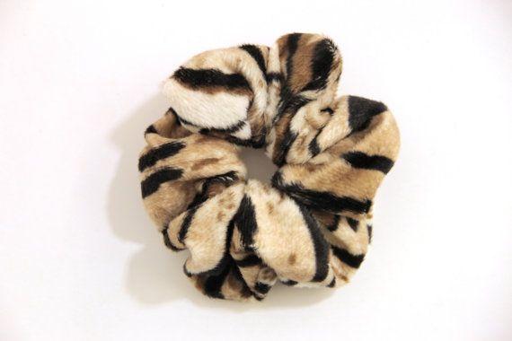 Tiger Animal Print Fake Fur Hair Scrunchie Chouchou by KHandmadeHK, $12.00