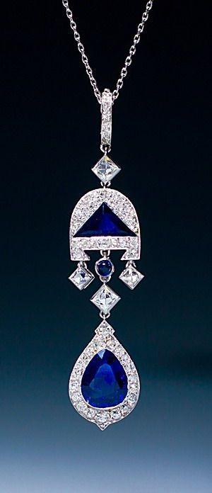 Cartier - A very fine Art Deco sapphire and diamond pendant