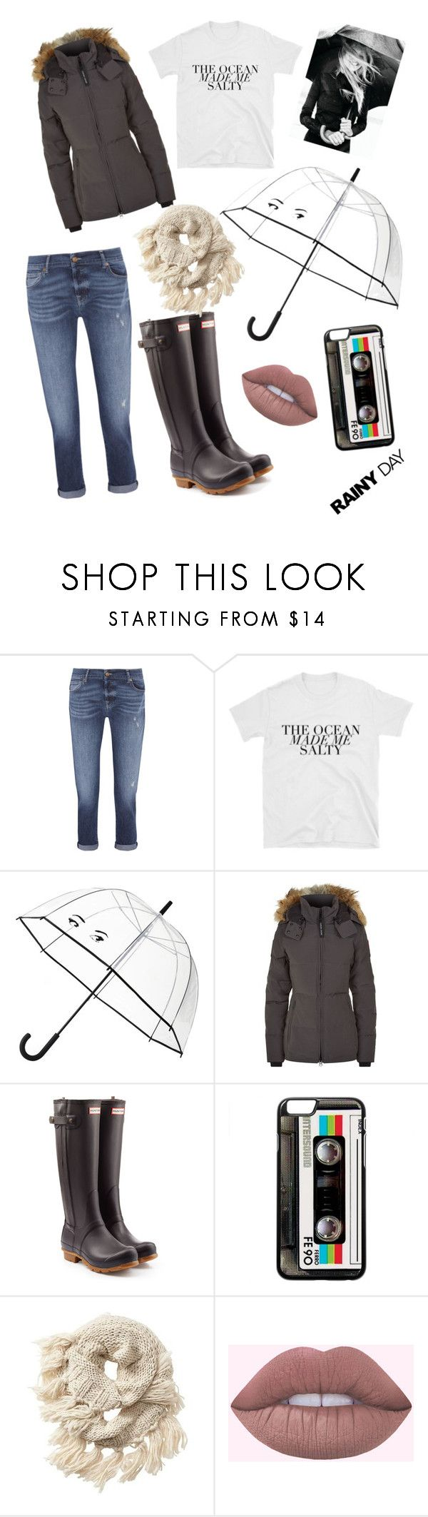 """""""Rainy dayz"""" by adrianaestrada835 ❤ liked on Polyvore featuring 7 For All Mankind, Kate Spade, Canada Goose, Hunter and Athleta"""