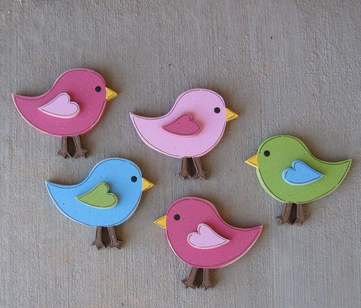 Set of 5 four inch BIRDS for wall hanging bedroom, home or girl room decor. $19.95, via Etsy.